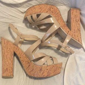 Nine West Cork Platform Nude Patent Leather Sandal